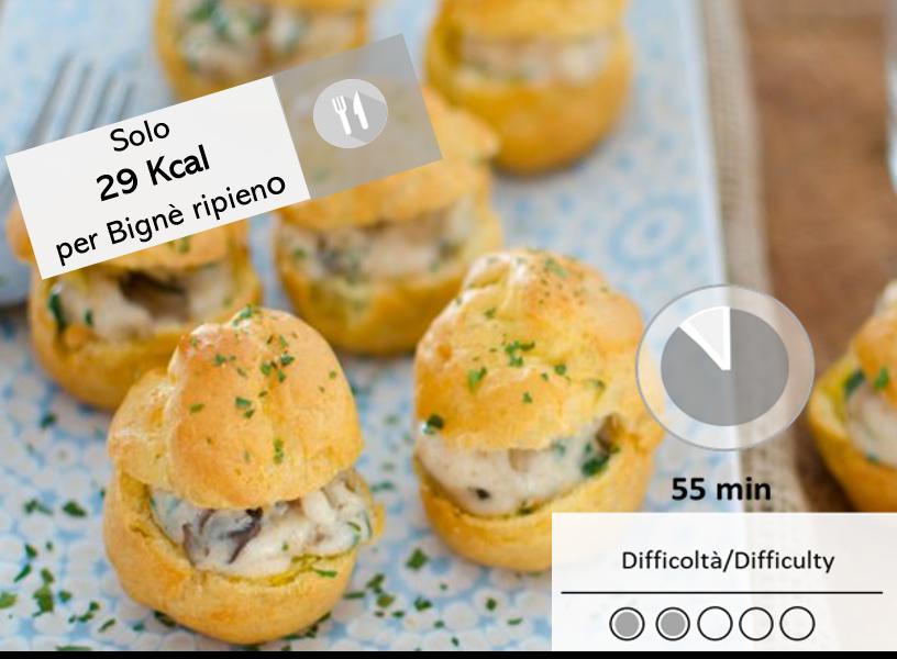 Bignè salati con crema ai funghi porcini e tartufo bianco