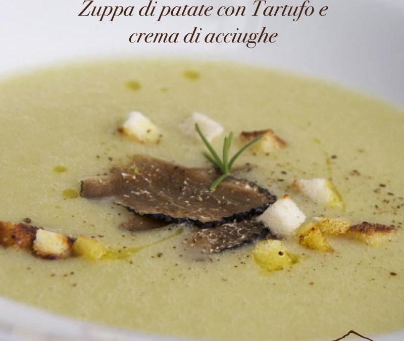 Zuppa di patate con tartufo e crema di acciughe